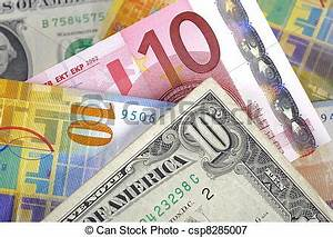 Dollar Euro And Swiss Franc Currency