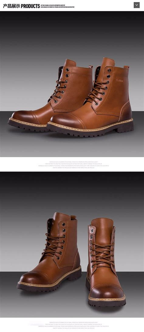 Mens Fashion Martin Boots Cow Split Leather Shoes Men