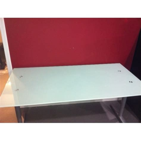 frosted glass desk top ikea galant frosted glass top desk brushed aluminum