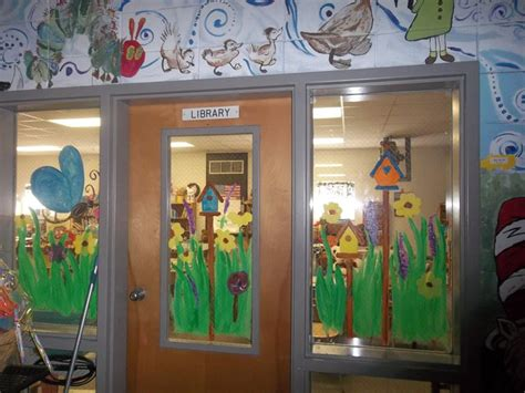 spring window painting  students library ideas