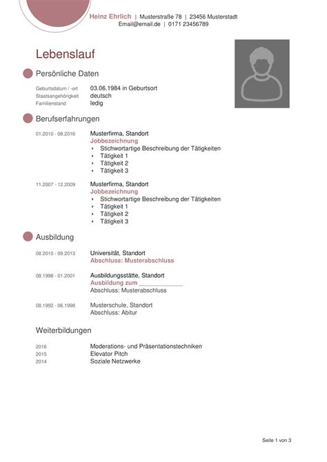 Für Lebenslauf Schreiben by Tabellarischer Lebensl F 227 188 R Den Fall Rulmeca Germany