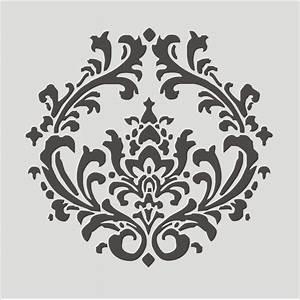 Stencil, Damask pattern 4.3, Flourish, Wall stencil, image ...