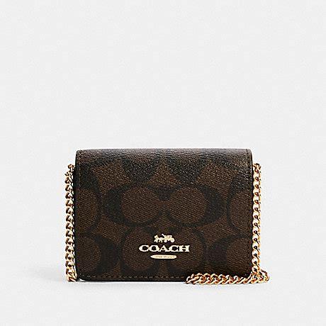 coach  mini wallet   chain  signature canvas imbrown black coach deals
