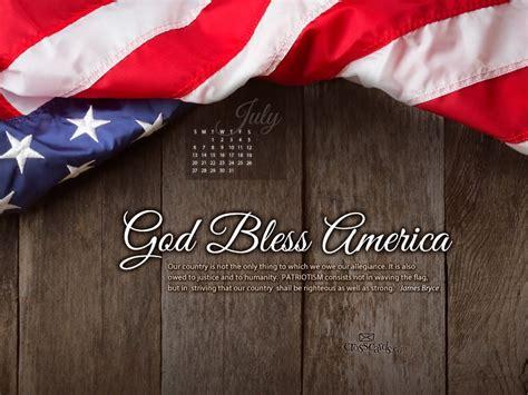 july  patriotism desktop calendar  july wallpaper