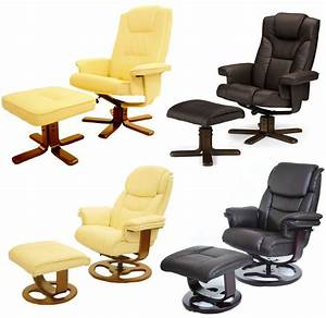 Leather Executive Recliner Arm Chair With Foot Stool EBay