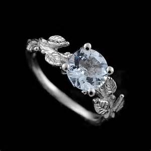 organic engagement rings crafted leaves accent aquamarine gemstone organic engagement ring orospot jewelry on