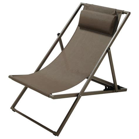 chaise longue piscine metal steamer chair folding deckchair in taupe l 104cm