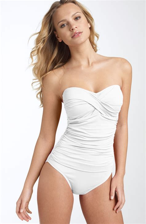 la blanca  piece bandeau swimsuit  white lyst