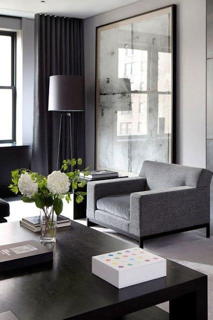 moody masculine gray charcoal black ivory living room design grey and