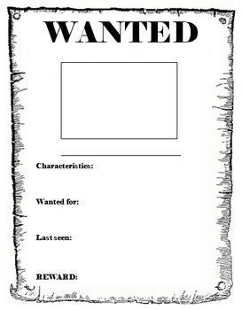 wanted poster template   db teachers pay teachers