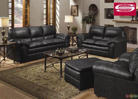 geneva black bonded leather casual sofa loveseat living