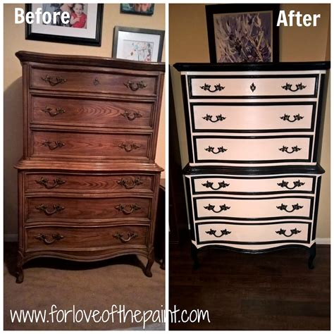 black and white dresser for of the paint before and after black and white