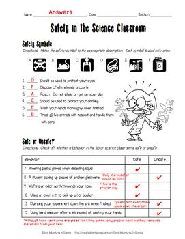 Safety In The Science Classroom Worksheet By Adventures In Science