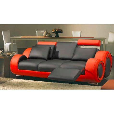 canap en cuire canapé 3 places en cuir relax noir et achat