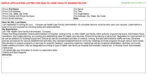 Cover Letter Health Care Administration - Erieairfair