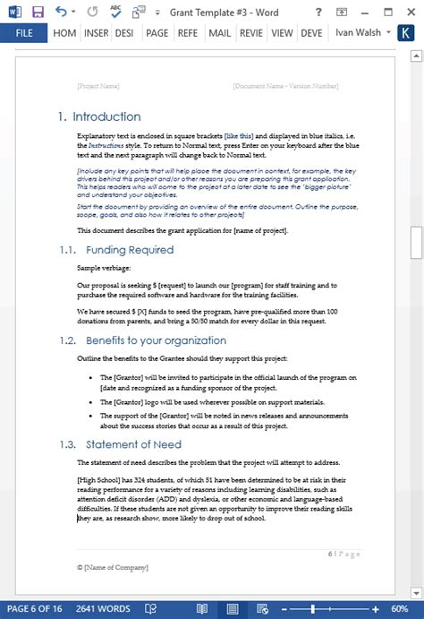 grant proposal templates ms word  excel spreadsheet