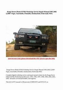 Range Rover  Mark Ii P38  Workshop Service Repair Manual