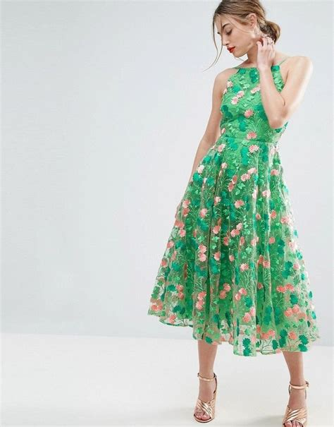 asos salon floral embroidered backless pinny midi prom