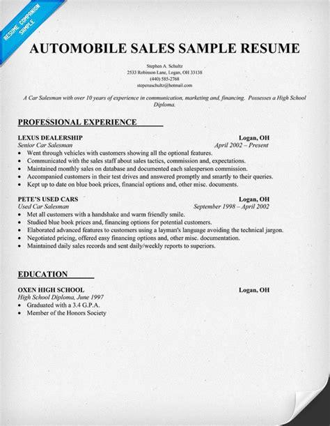 automobile sales resume sample job resume samples