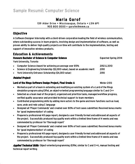 sample computer science resume  examples  word