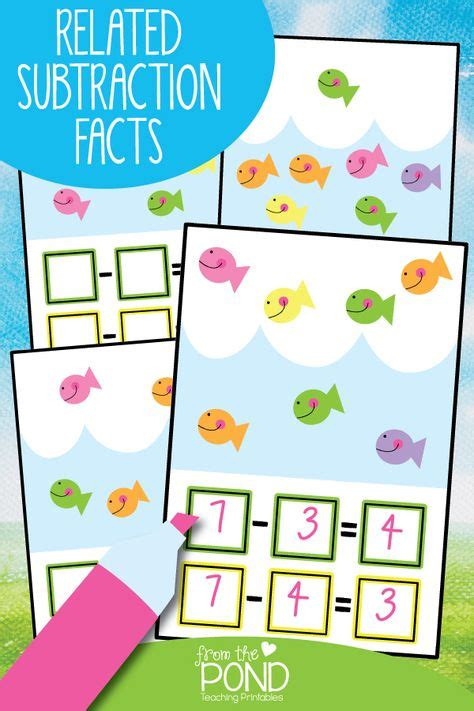 subtraction problems  related facts math activity pack