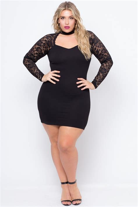 Dress Knit Choker this plus size stretch knit dress features a front choker