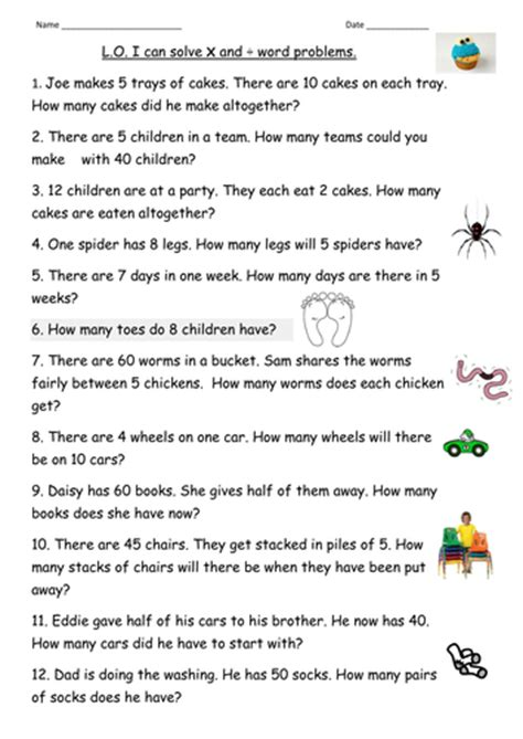 multiplication division word problems for year 2 by