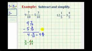 subtracting whole number and fraction ex subtract mixed numbers with like denominators