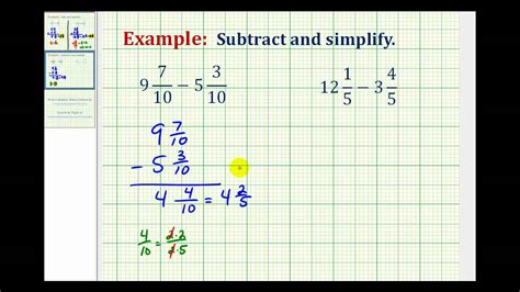 ex subtract mixed numbers with like denominators