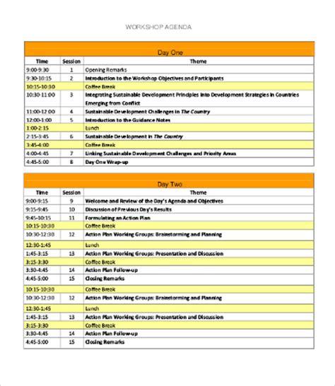 workshop agenda template   word excel