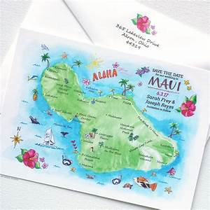 maui hawaii map mospens studio elegant custom With hawaii map wedding invitations