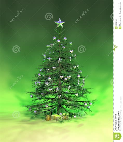 silver green christmas tree stock illustration image