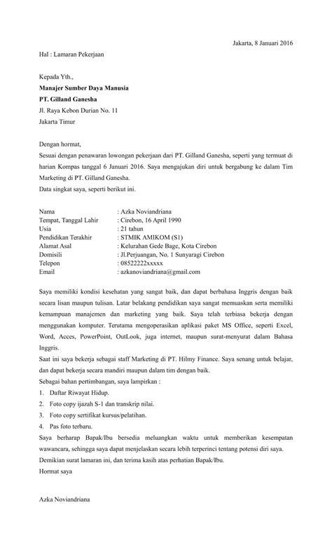 Contoh Surat Sakit Tulis Tangan by Contoh Surat Lamaran Kerja Terbaru Yang Disempurnakan
