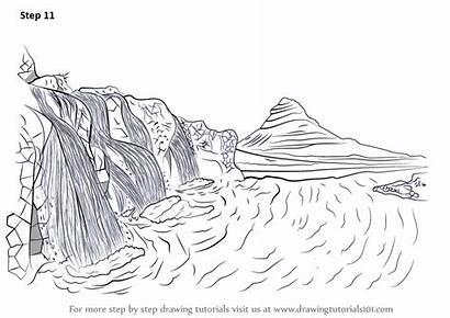 Waterfall Step Scenery Draw Drawing Tutorials Waterfalls