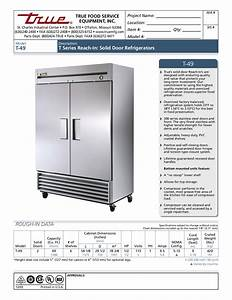Pdf Manual For True Refrigerator T