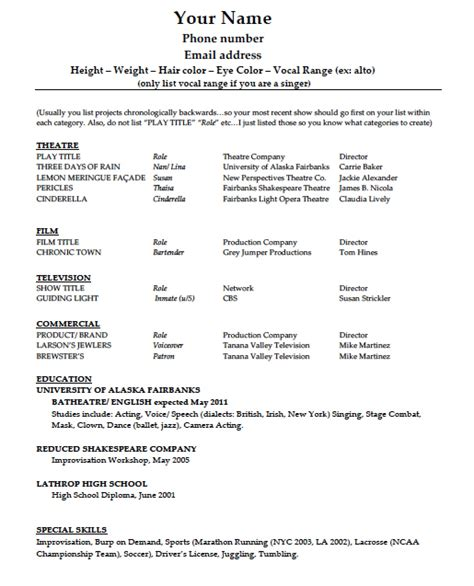 theatre resumes download acting résumé template pdf word wikidownload