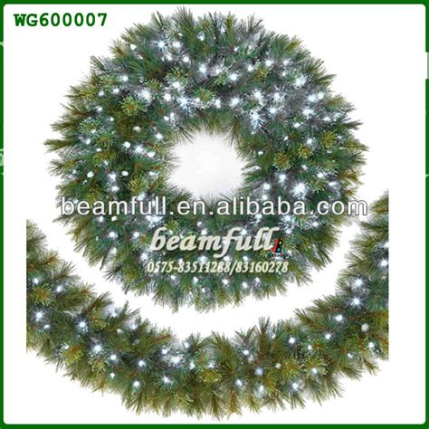 fiber optic christmas wreath and garland with plume