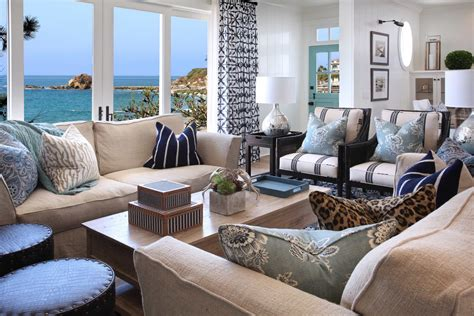 Blue And White Coastal Living Room With Ocean View #50395