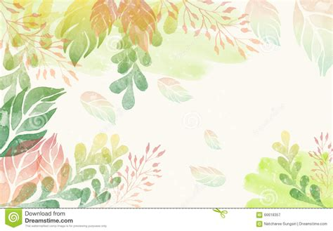 colorful watercolor leaves background stock illustration