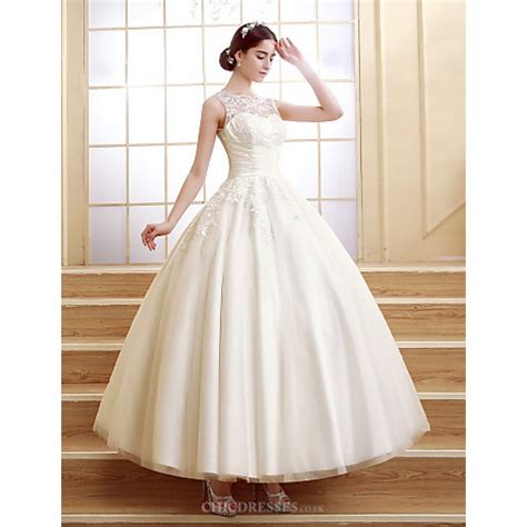 ball gown ankle length wedding dress scalloped edge tulle