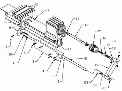 Lathe Drawing Diagram Assembly Cutting Parts Taig