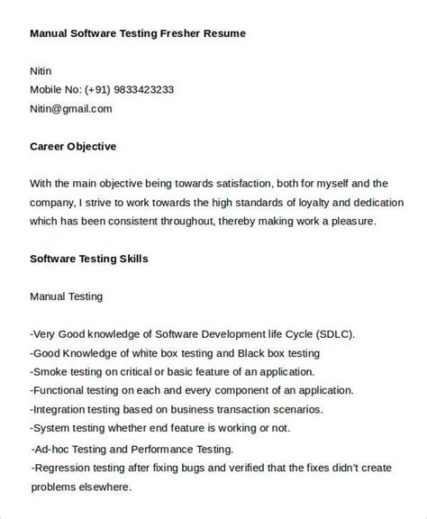 sle resume for manual testing fresher 12 fresher resume sles free premium templates