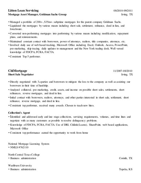 sle resume for goldman sachs loan servicer resume