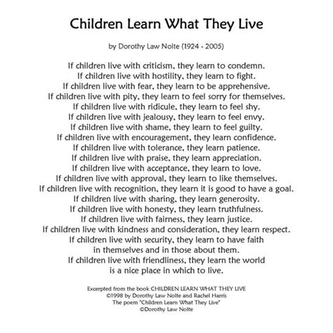 children learn what they live printable children learn 878 | 45aeae106096e58917c723909204bde5