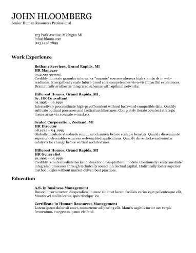 Standard Cv Layout by 30 Basic Resume Templates Hloom