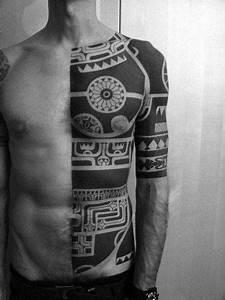 Black Raven Design 70 All Black Tattoos For Men Blackout Design Ideas