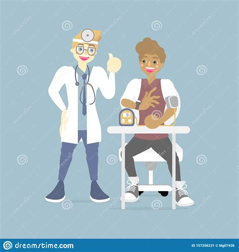 male doctor checking caring measuring blood pressure