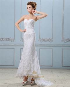 White Sweetheart Strapless Lace Mermaid Wedding Dress With ...
