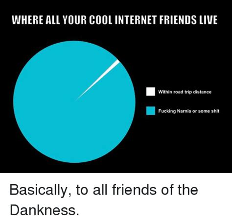 Internet Friends Meme - where all your cool internet friends live within road trip distance fucking narnia or some shit