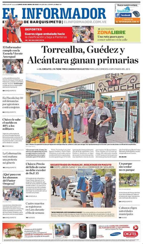 One who informs, animates, or inspires. Periódico El Informador (Venezuela). Periódicos de Venezuela. Edición de lunes, 26 de abril de ...